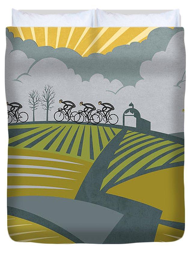 Cycling Duvet Cover featuring the painting Ronder Van Vlaanderen by Sassan Filsoof