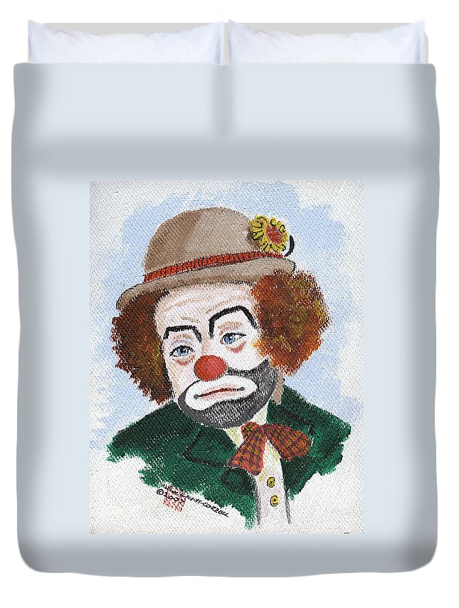 Clowns Duvet Cover featuring the painting Ronnie The Clown by Arlene Wright-Correll