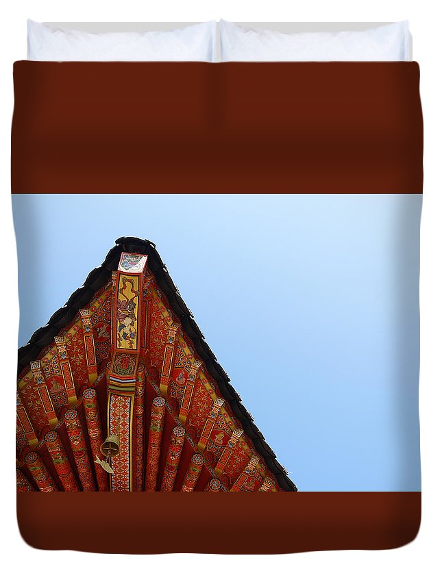 Korea Duvet Cover featuring the photograph Roof by Josh Kim