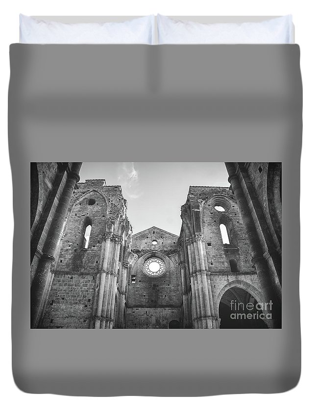 Abandoned Duvet Cover featuring the photograph Roofless Church Black And White by Luca Lorenzelli