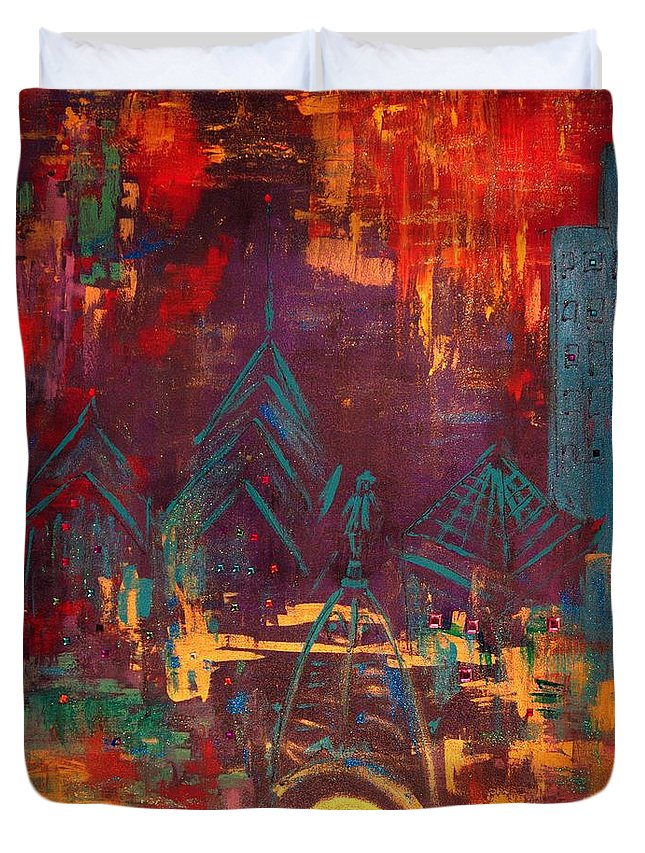 Duvet Cover featuring the painting Roofs by Lilliana Didovic