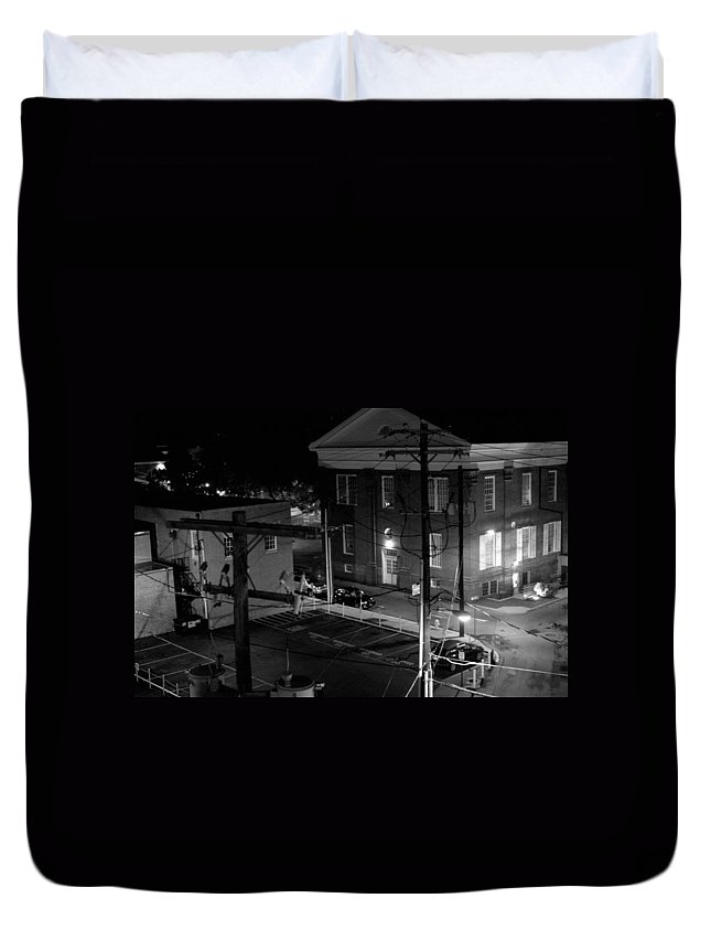 Black White Duvet Cover featuring the photograph Rooftop Court by Jean Macaluso