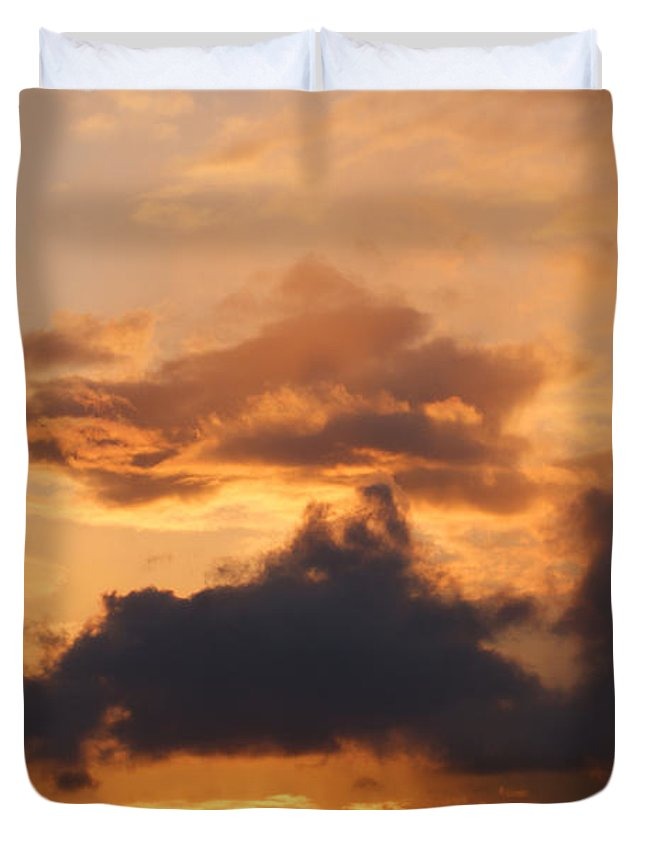 Sunset Duvet Cover featuring the photograph Rooftop Sunset 3 by Carol Lynch
