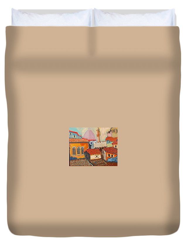 Florence Duvet Cover featuring the painting Rooftops by Kurt Hausmann