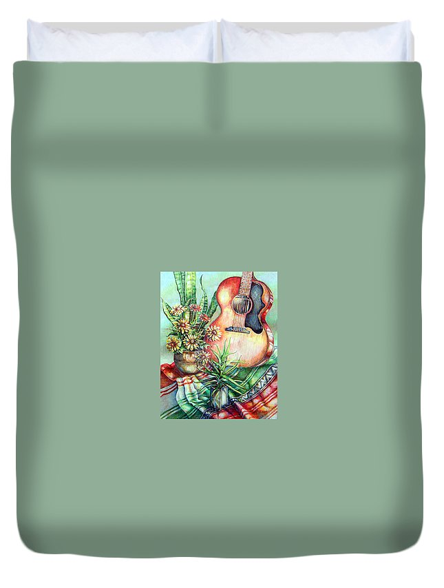 Guitar Duvet Cover featuring the drawing Room For Guitar by Linda Shackelford