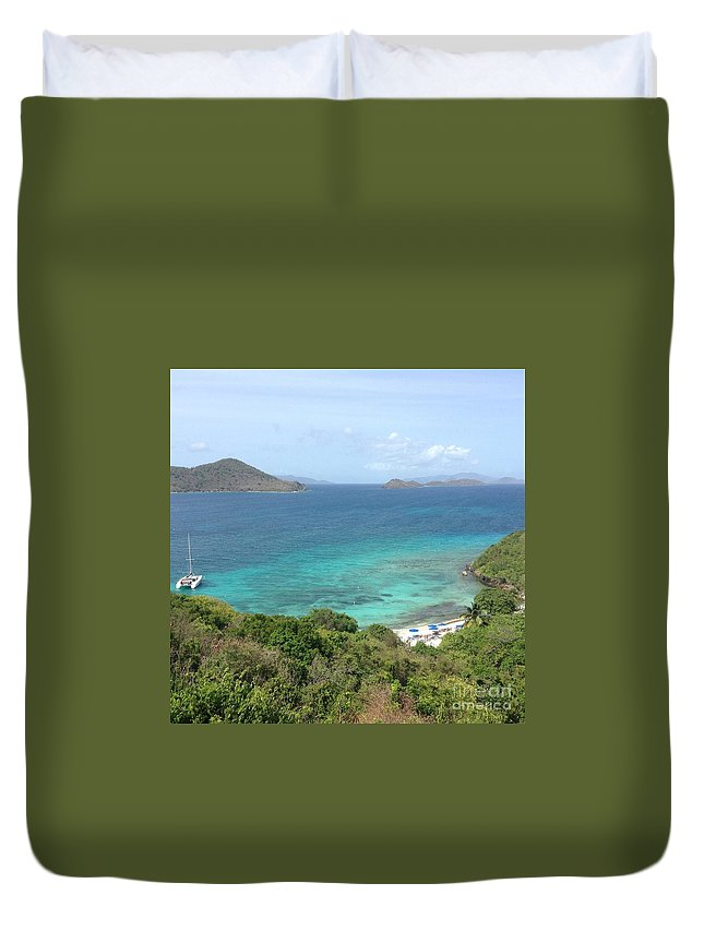 St. Thomas Duvet Cover featuring the photograph Room With A View by Gina Sullivan