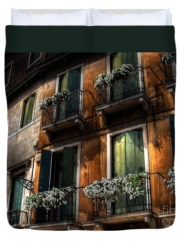 Venice Duvet Cover featuring the photograph Rooms With A View by Lois Bryan