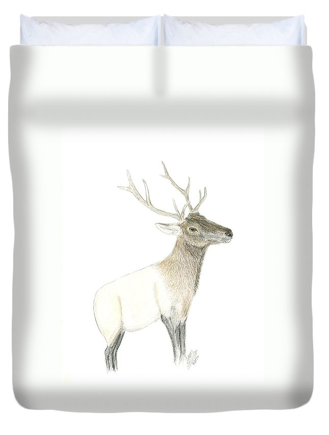 Rosy Duvet Cover featuring the drawing Roosevelt Elk by Sara Stevenson