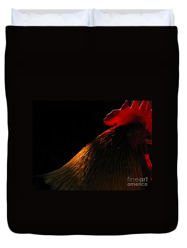 Rooster Duvet Cover featuring the photograph Rooster by Amanda Barcon
