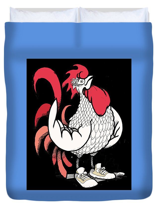 Duvet Cover featuring the drawing Rooster by Amos The Dark