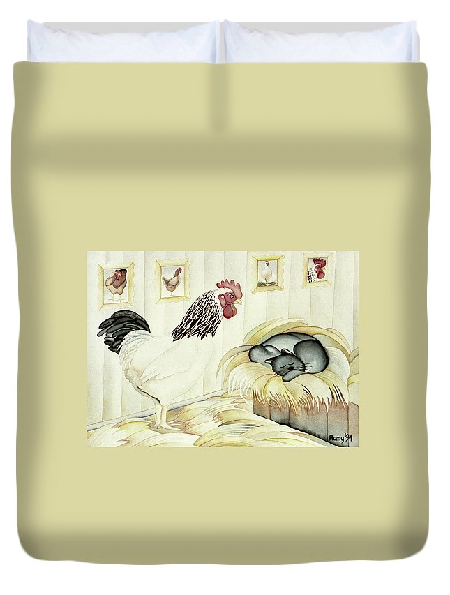Humorous Duvet Cover featuring the painting Rooster And Cat by Romy Muirhead