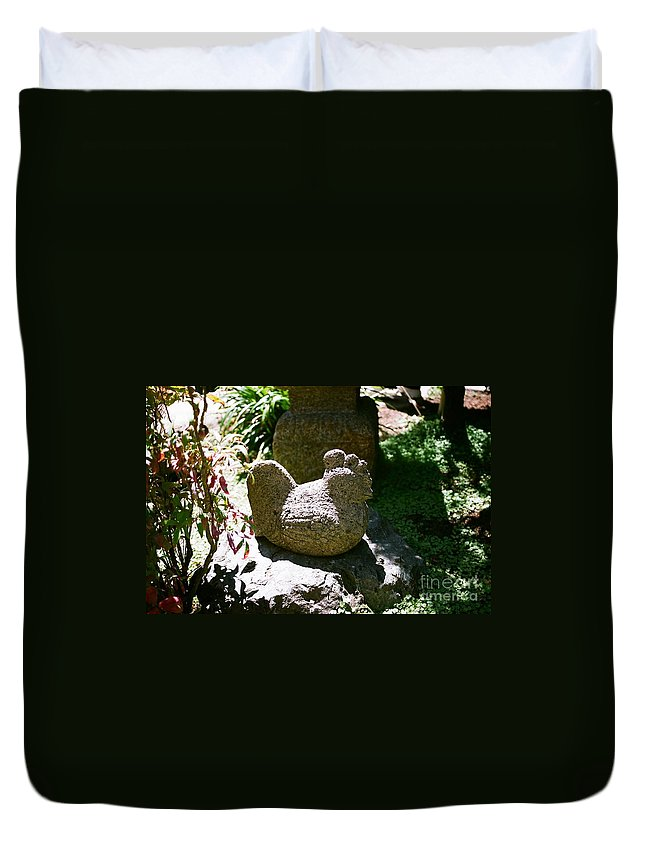 Stone Duvet Cover featuring the photograph Rooster by Dean Triolo