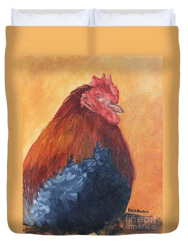 Animal Duvet Cover featuring the painting Rooster by Todd A Blanchard
