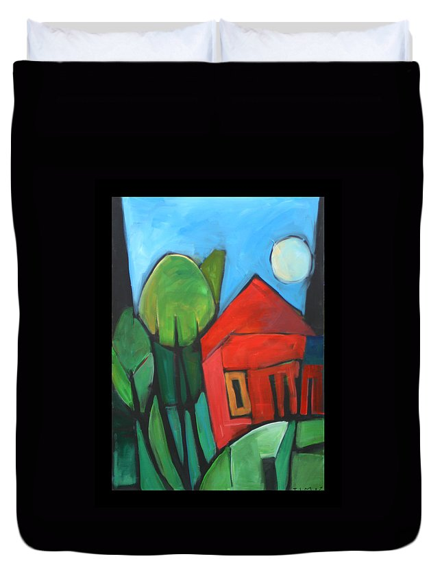 Trees Duvet Cover featuring the painting Root Cellar by Tim Nyberg