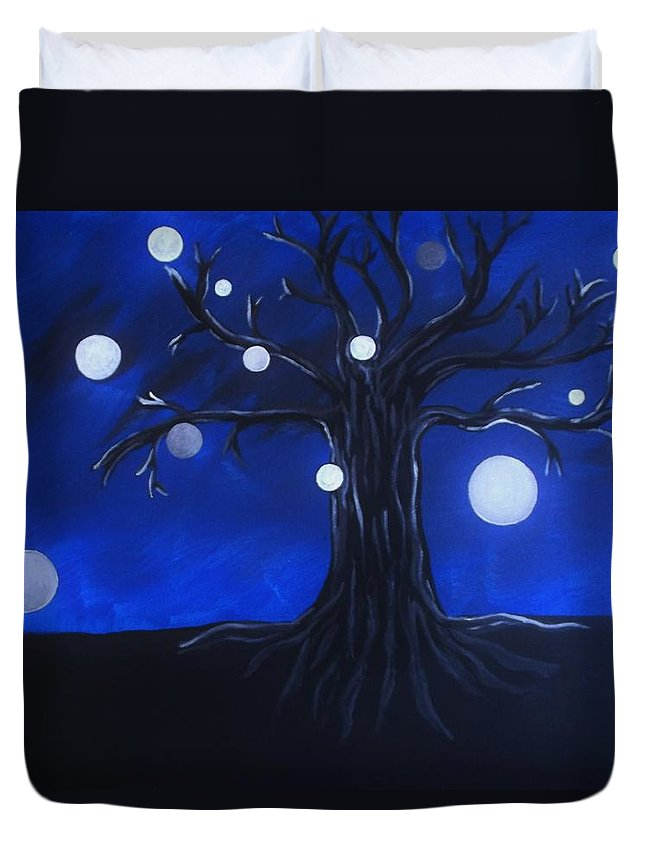Trees Duvet Cover featuring the painting Roots And Branches by Bhean Spiorad