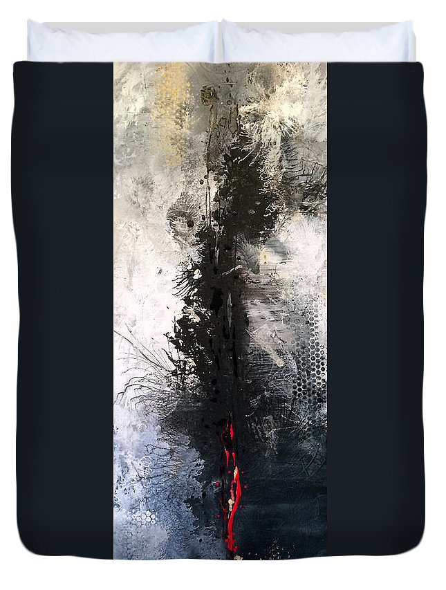Vertical Duvet Cover featuring the painting Roots and Wings by Jill English