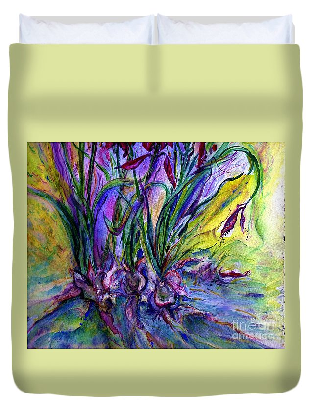 Flowers Duvet Cover featuring the painting Roots In Blue by Carliss Prosser
