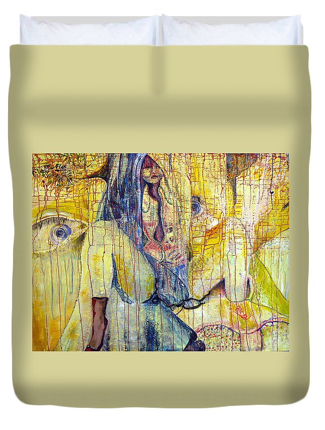 Portrait Duvet Cover featuring the painting Roots by Peggy Blood