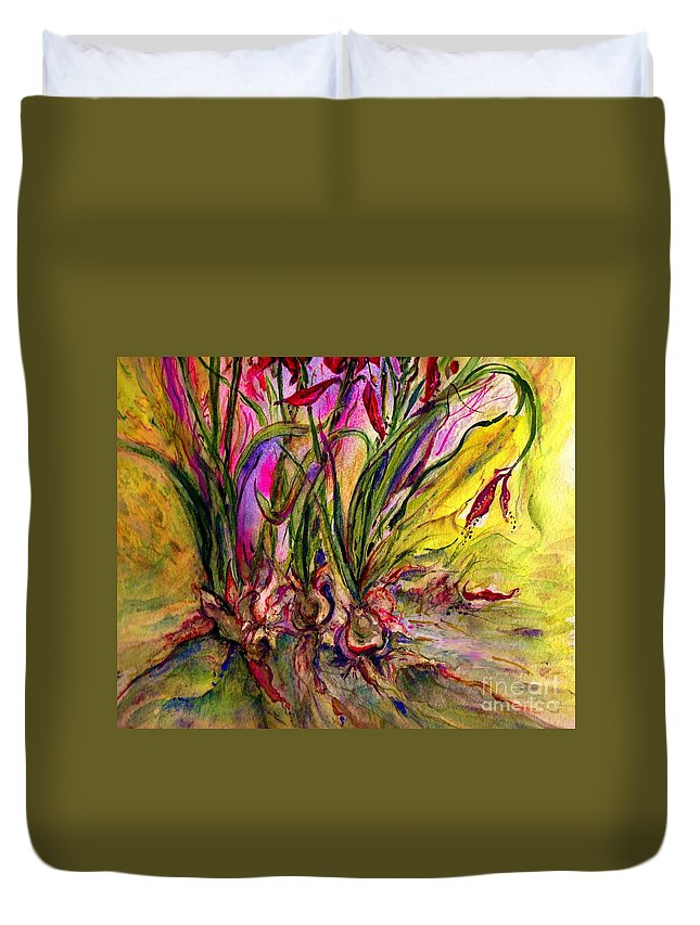 Flowers Duvet Cover featuring the painting Roots In Pink by Carliss Prosser
