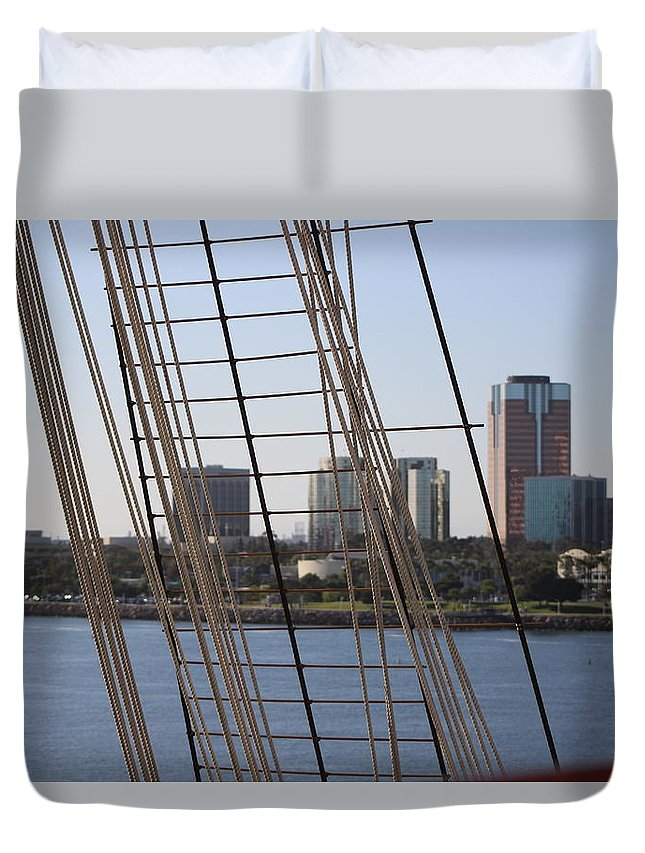 Nautical Duvet Cover featuring the photograph Ropes And Cables Of The Queen Mary by Colleen Cornelius