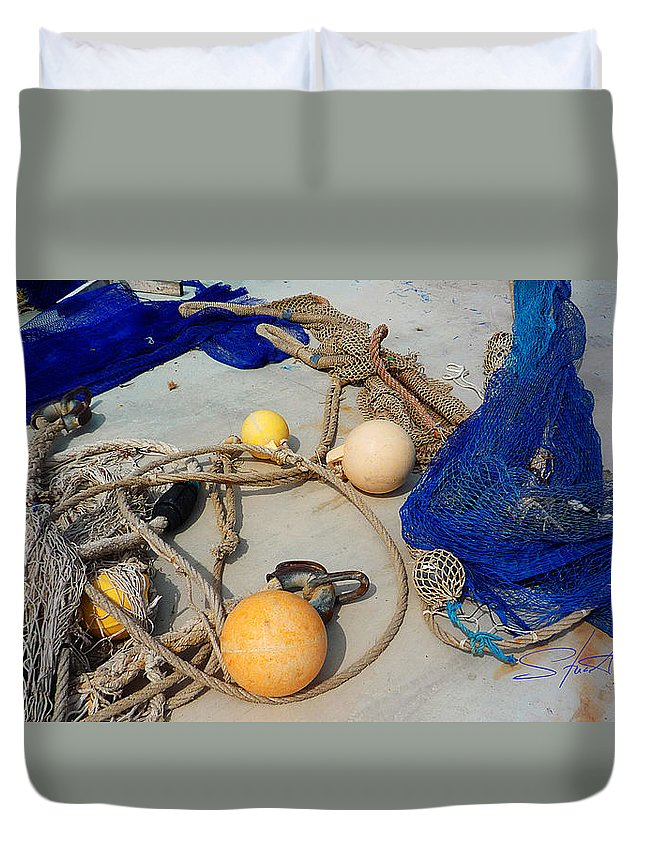 Fishing Net Duvet Cover featuring the photograph Ropes Nets And Bouys by Charles Stuart