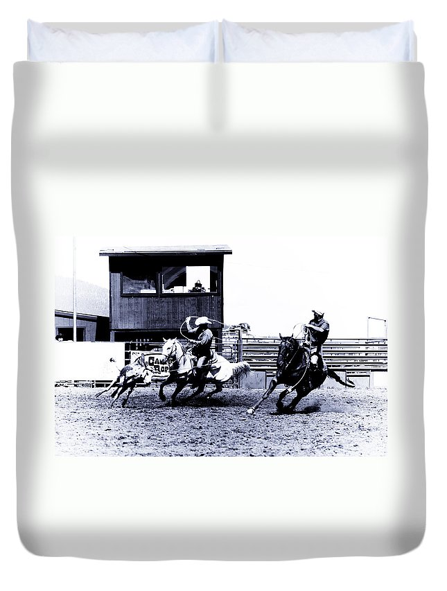 Rodeo Duvet Cover featuring the photograph Roping 1 by Scott Sawyer