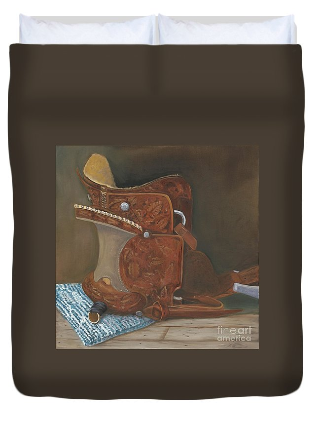 Saddle Duvet Cover featuring the painting Roping Saddle by Mendy Pedersen
