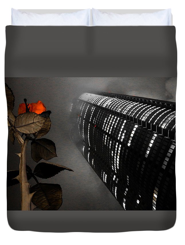 Japan Duvet Cover featuring the pyrography Roppongi by Peteris Vaivars