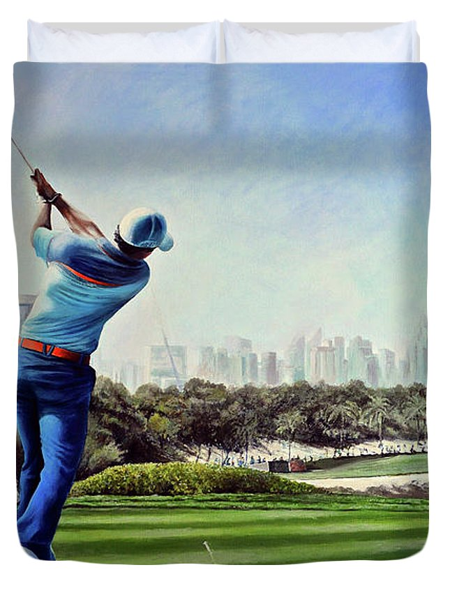 Rory Mcilroy Duvet Cover featuring the painting Rory At Ddc Emirates Gc Dubai 8th 2014 by Mark Robinson