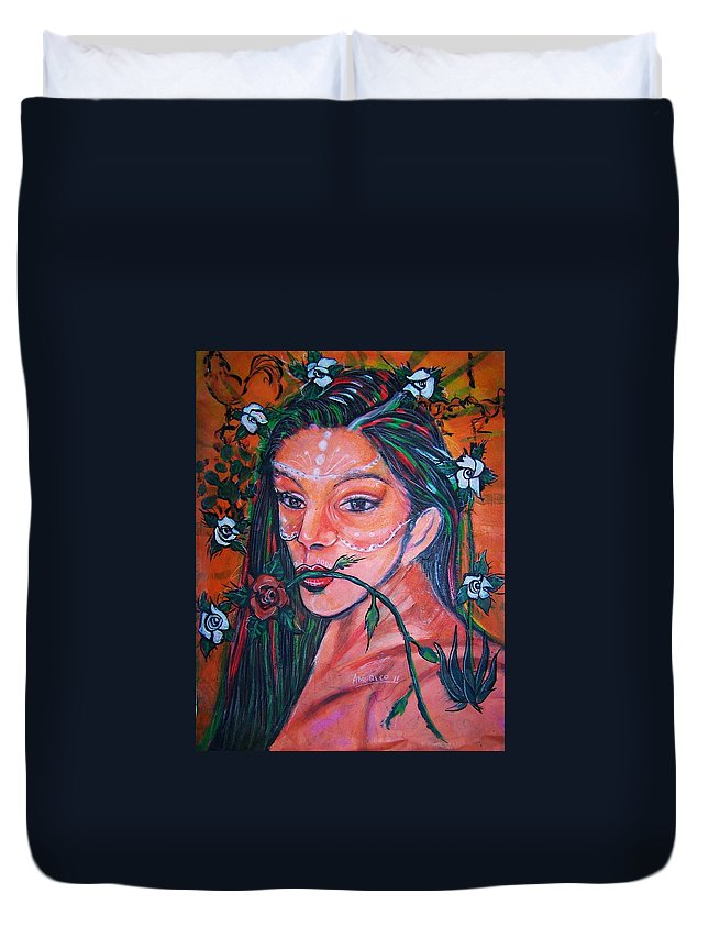 Latina Duvet Cover featuring the painting Rosales Latina by Americo Salazar