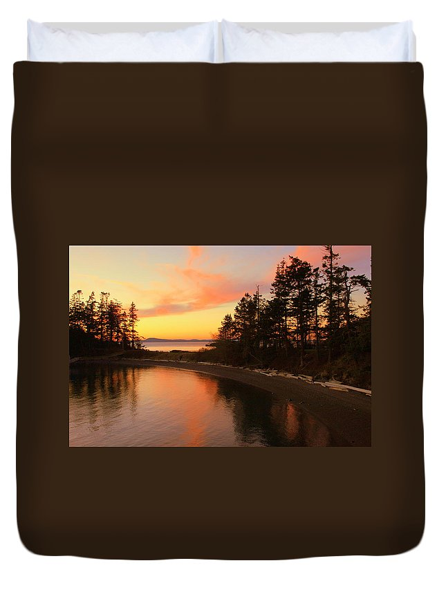 Sunset Duvet Cover featuring the photograph Rosario Beach Sunset by Randall Thomas Stone
