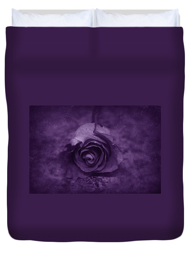 Purple Duvet Cover featuring the photograph Rose - Purple by Angie Tirado
