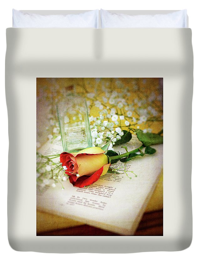 Art Duvet Cover featuring the photograph Rose And Bottle by Larry Bishop