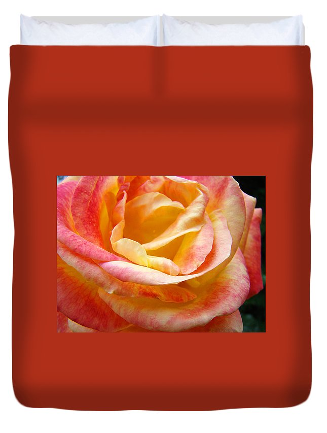 Rose Duvet Cover featuring the photograph Rose Art Pink Yellow Summer Rose Floral Baslee Troutman by Baslee Troutman