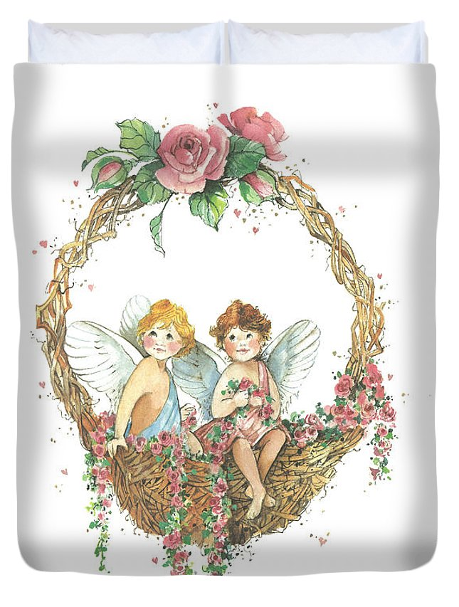 Cherubs Duvet Cover featuring the painting Rose Basket Cherubs by Carolyn Shores Wright