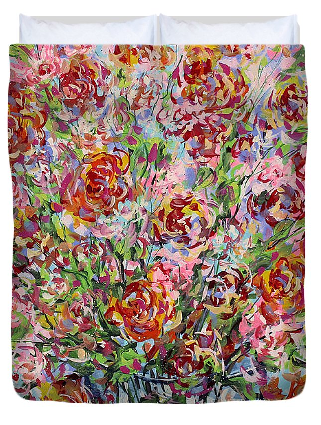 Flowers Duvet Cover featuring the painting Rose Bouquet In Glass Vase by Leonard Holland