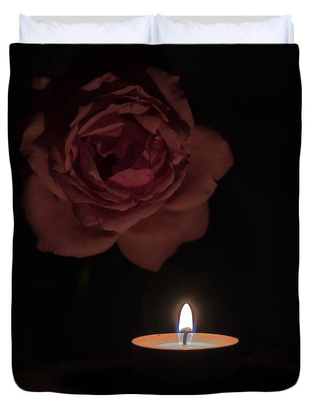 Angle Duvet Cover featuring the photograph Rose Candle by Adrian Bud