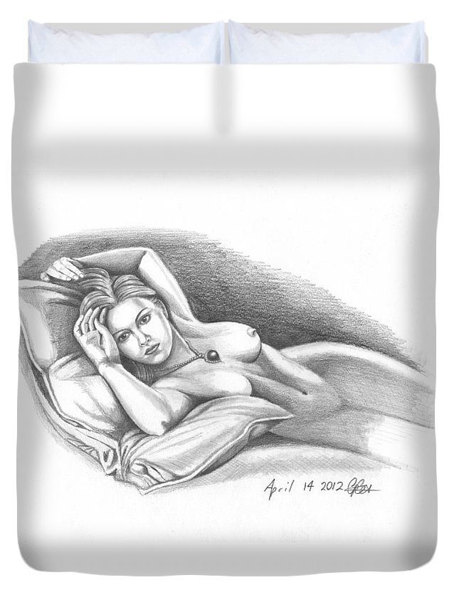 Rose Duvet Cover featuring the drawing Rose by Chris Cox
