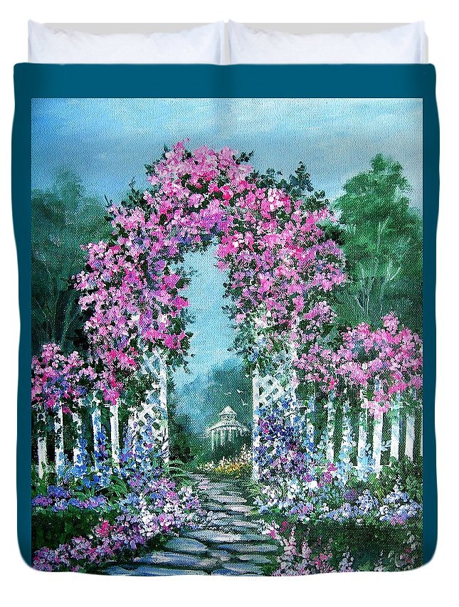 Roses;floral;garden;picket Fence;arch;trellis;garden Walk;flower Garden; Duvet Cover featuring the painting Rose-covered Trellis by Lois Mountz