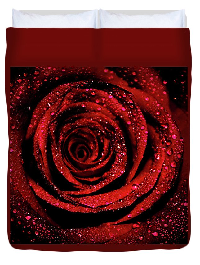 Rose Duvet Cover featuring the photograph Rose Dew by Lee Pirie