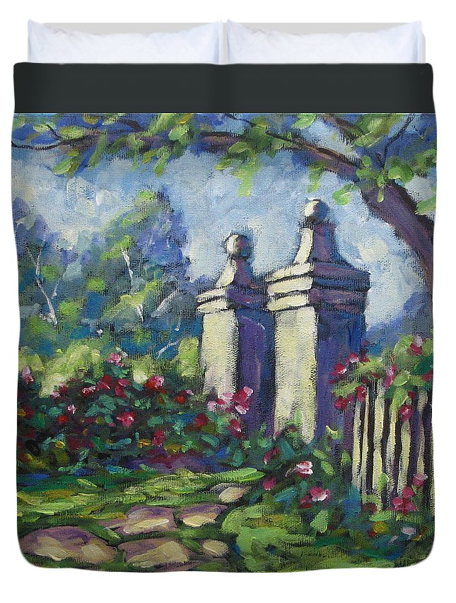Rose Duvet Cover featuring the painting Rose Garden by Richard T Pranke