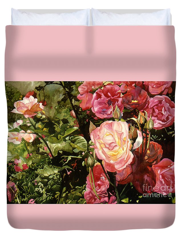 Watercolor Duvet Cover featuring the painting Rose Garden by Teri Starkweather