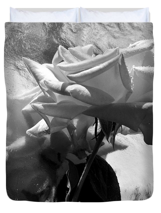 Rose Duvet Cover featuring the photograph Rose Gray Tones by Damijana Cermelj