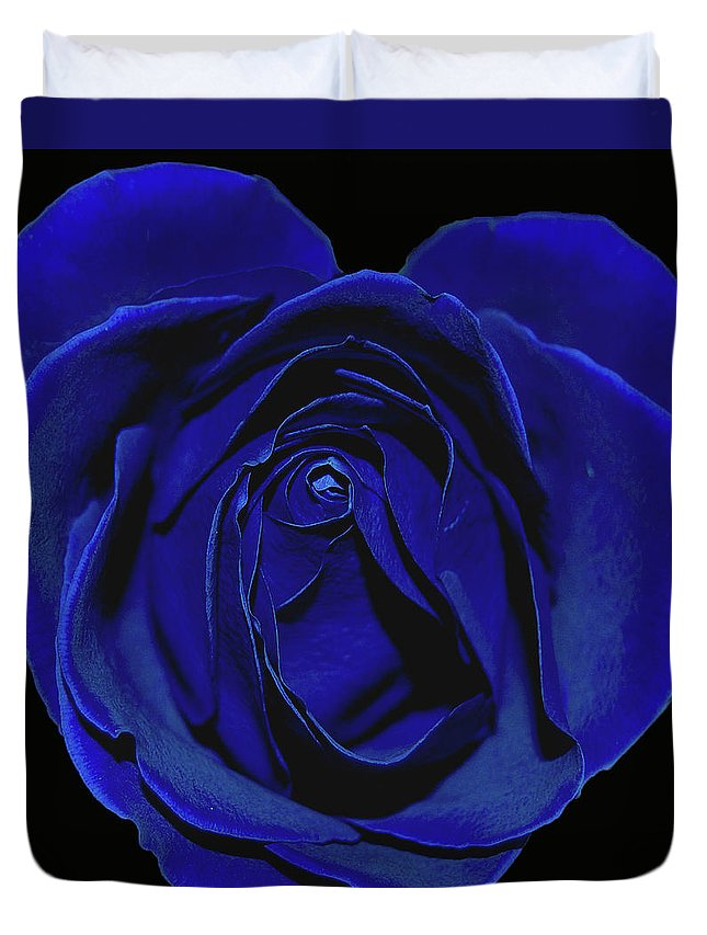 Rose Duvet Cover featuring the photograph Rose Heart In Blue Velvet by DigiArt Diaries by Vicky B Fuller