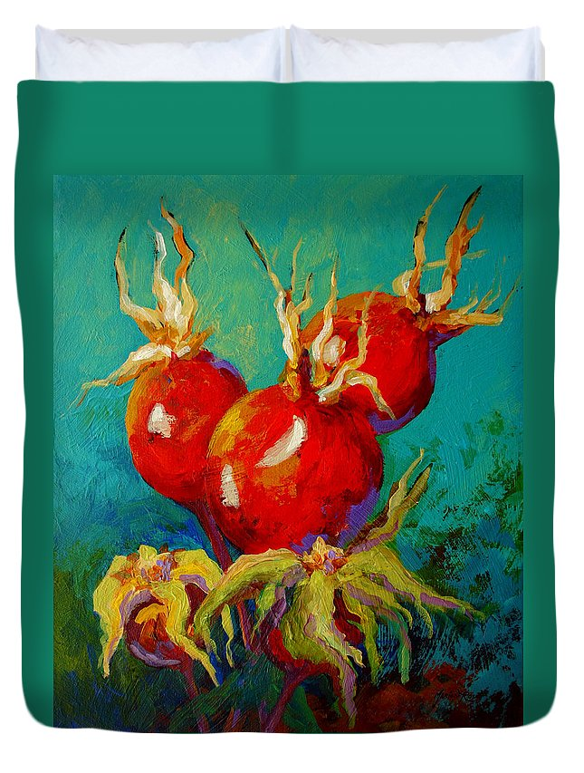 Floral Duvet Cover featuring the painting Rose Hips by Marion Rose