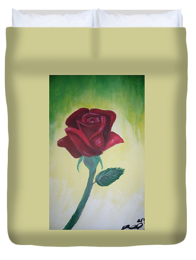 Rose Duvet Cover featuring the painting Rose by Joanna Aud