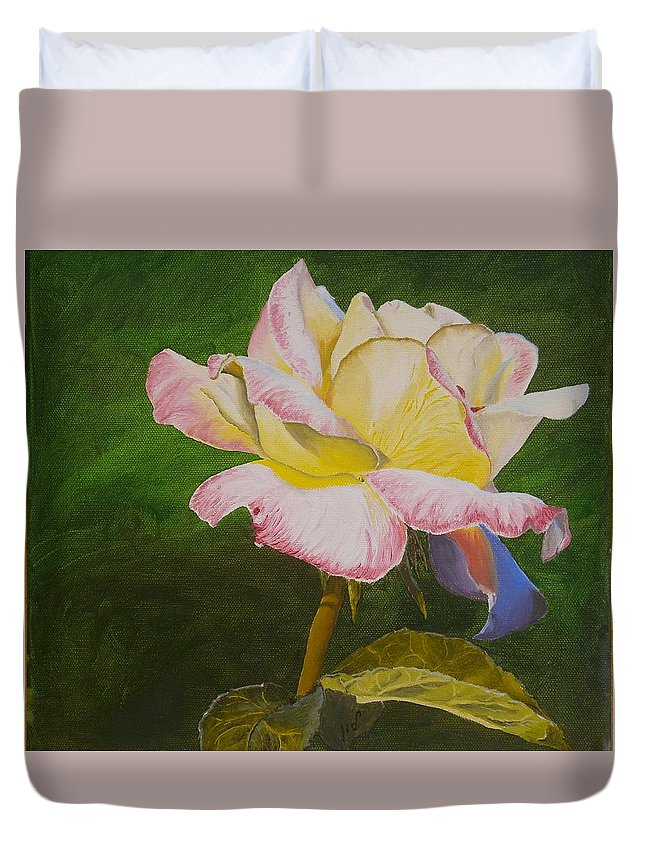 Floral Duvet Cover featuring the painting Rose by Maria Woithofer