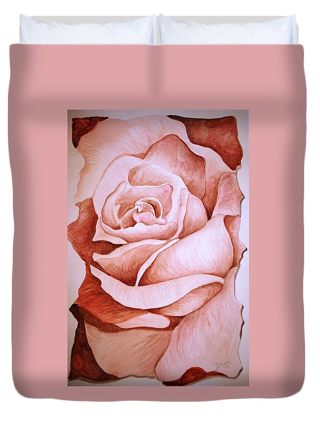 Rose Duvet Cover featuring the painting Rose by Melissa Wiater Chaney