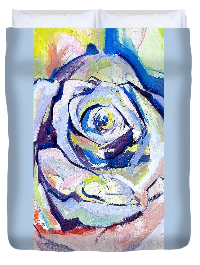 Florals Duvet Cover featuring the painting Rose Number 2 by John Jr Gholson