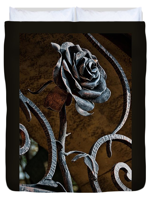 Rose Duvet Cover featuring the photograph Rose Of Iron by Christopher Holmes